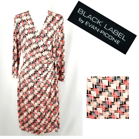 Evan Picone Dresses & Skirts - Evan Picone Black Label Mock Wrap Dress Size 14